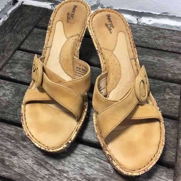 99e4f1b31a42 Born Shoes - Born Drilles Wedge Leather Sandals Sz 9